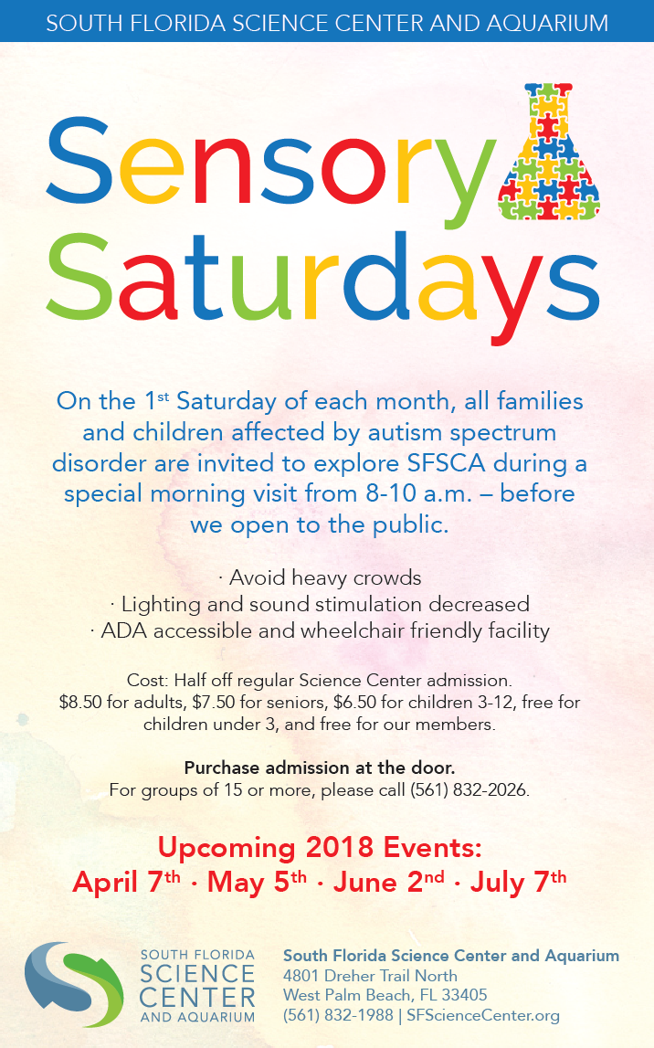 Sensory saturdays south florida science center and aquarium we are proud to present sensory saturdays special exploration hours at the south florida science center and aquarium on the 1st saturday of each month publicscrutiny Choice Image